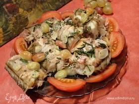 Креветочная рыба с виноградом
