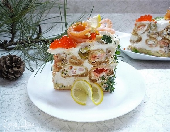 Торт закусочный «Заварной с морепродуктами»