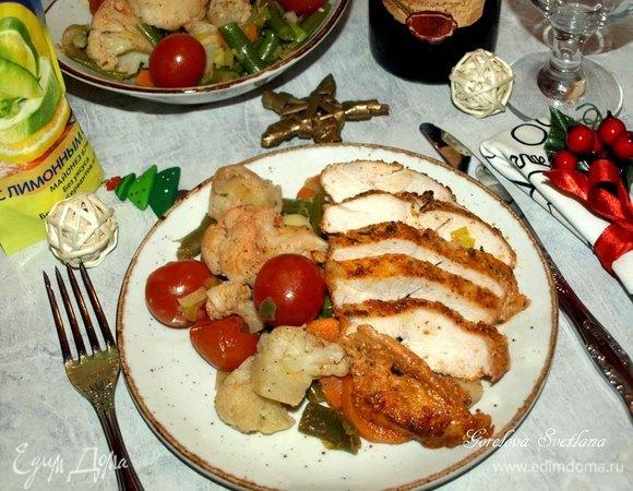 Пикантная куриная грудка с овощами
