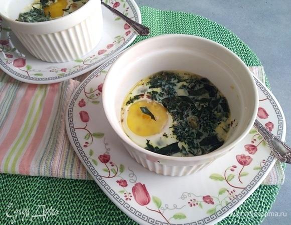Яйца кокот с зеленью