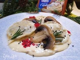 Равиоли с морепродуктами и грибами
