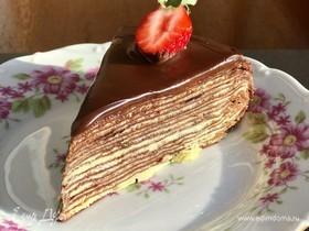 Шоколадный блинный торт с апельсиновым крем-чизом