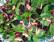 Салат из шпината с красным луком, ежевикой и грецкими орехами