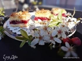 Сочный вишневый пирог с миндальной корочкой