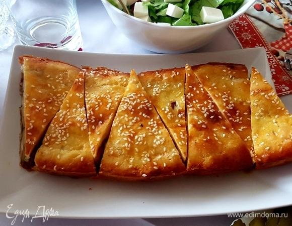 Творожный пирог с курицей и картошкой