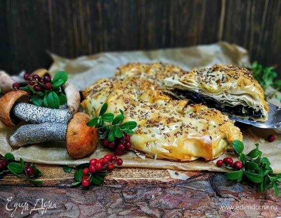 Пирог из теста фило с лесными грибами