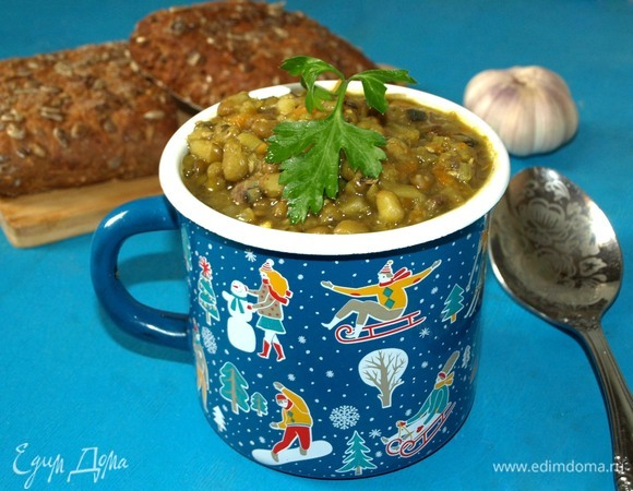 Пряный овощной суп с машем