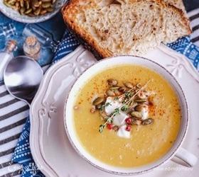 Тыквенно-чечевичный суп-пюре с имбирем