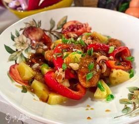 Куриные «наггетсы» с ананасами и азиатским соусом