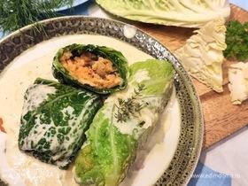 Голубцы из савойской капусты с кускусом и грибами