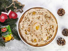 Пирог с персиками и миндалем