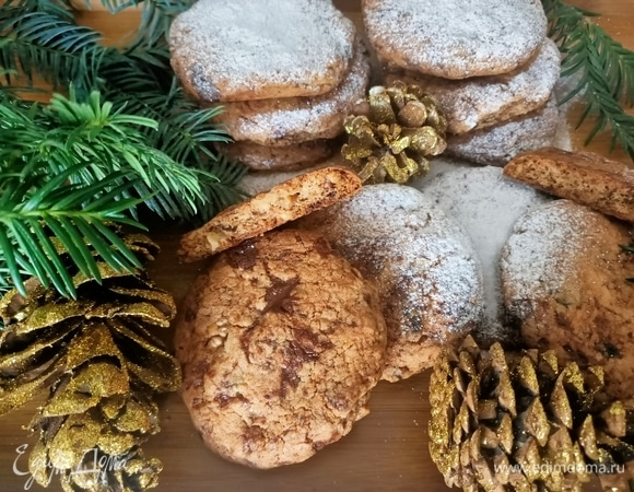 Печенье с шоколадом, орехами и черносливом