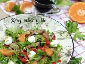 Салат с индейкой, мандаринами и творожным сыром