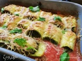 Кабачки, фаршированные шпинатом и сыром