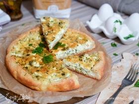 Пирог с творогом, сыром и зеленью на песочном тесте