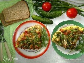 Омлет с помидорами и стручковой фасолью