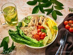 Боул с киноа, жареным тофу и овощами