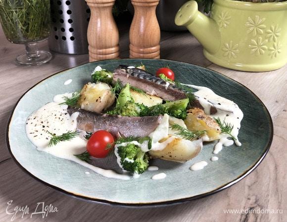 Скумбрия с луковым кремом и овощами