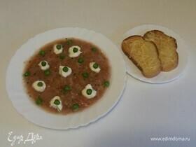 Овощной суп-пюре с сырными тостами