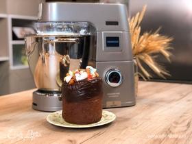 Шоколадный кулич с орехами и карамелью в стиле «Синнабон»