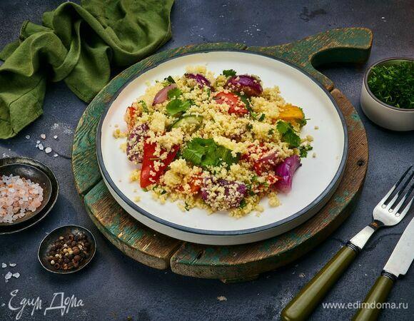 Салат из запеченных овощей с кускусом