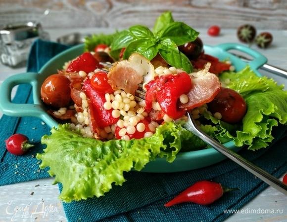 Салат с запеченным перцем и птитимом